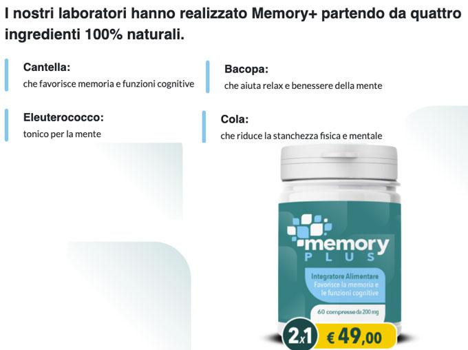 Memory Plus Ingredienti